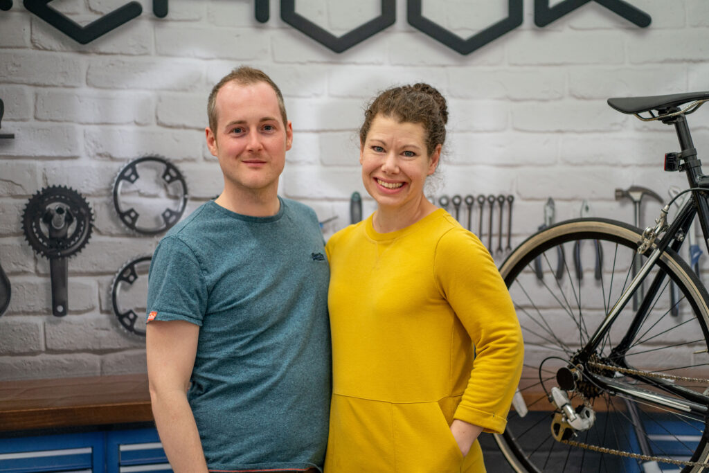 Wayne and Anna from Rehook pose for a photograph